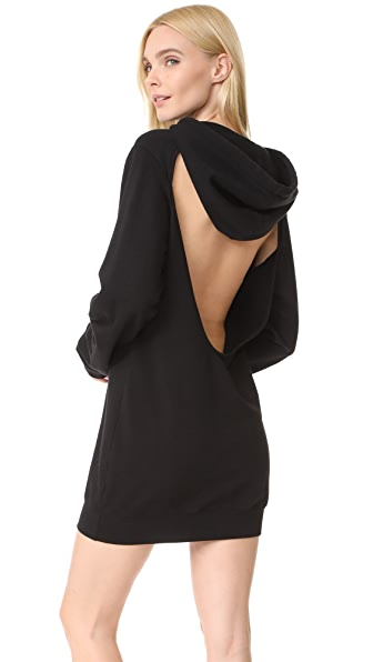 Cotton Citizen The Milan Backless Hoodie Mini Dress - Jet Black