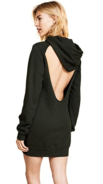 Cotton Citizen The Milan Backless Hoodie Mini Dress In Army