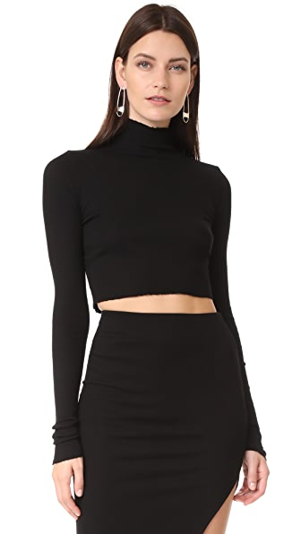 Cotton Citizen The Melbourne Crop Ribbed Turtleneck - Jet Black