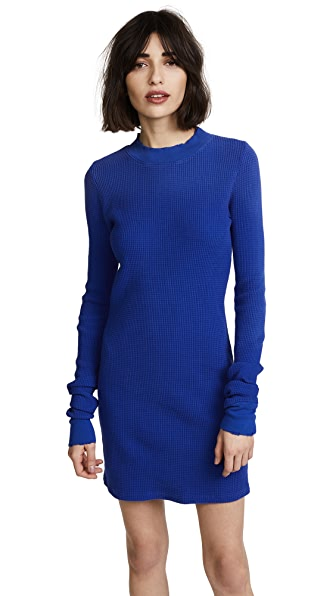 Cotton Citizen The Monaco Long Sleeve Mini Dress In Cobalt Mist