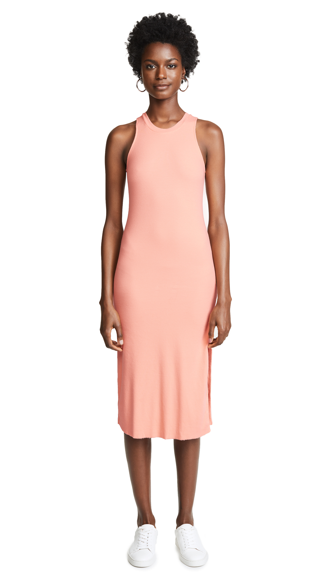 Cotton Citizen The Melbourne Tank Dress with Slit - Pastel Coral