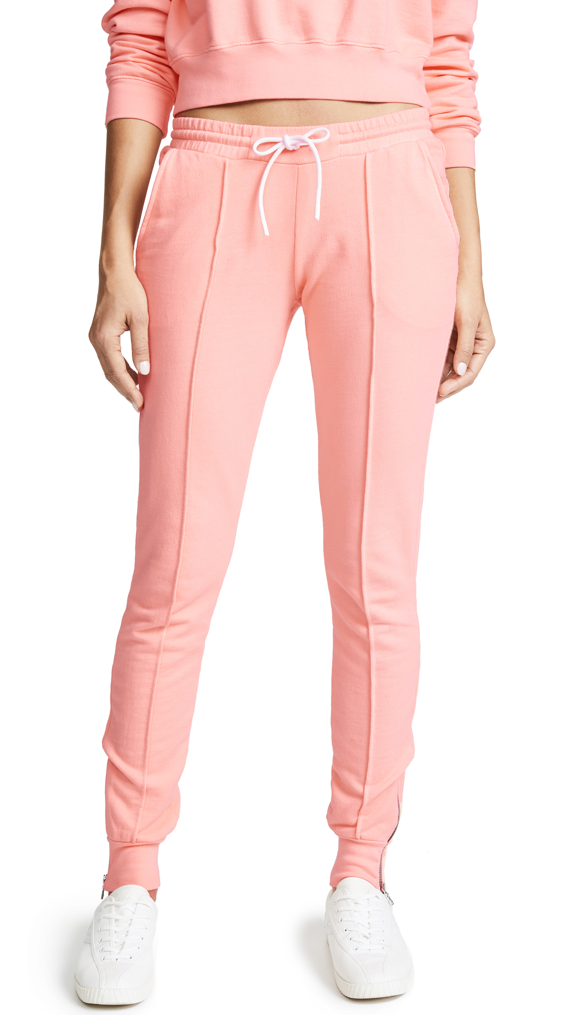 Cotton Citizen The Milan Joggers with Ankle Zips - Pastel Coral