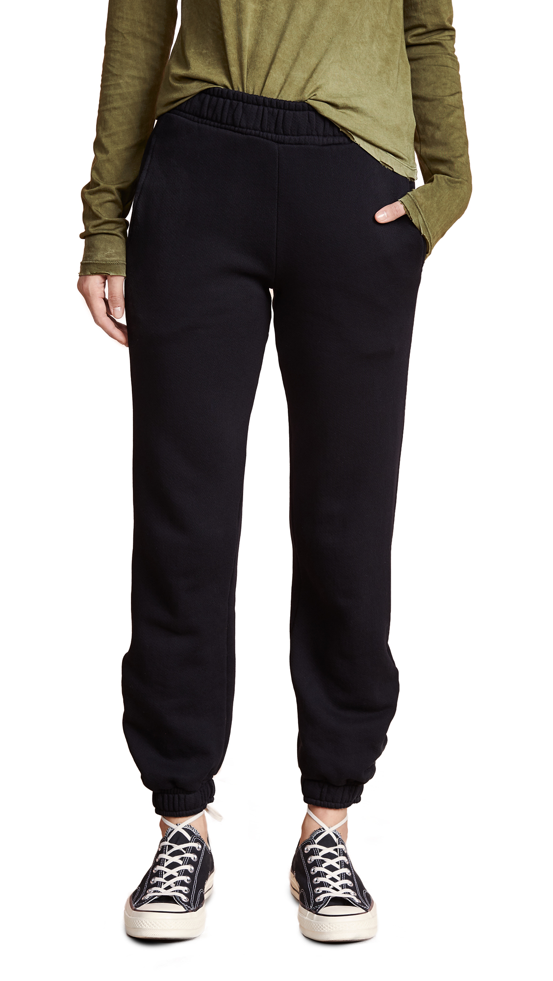 Cotton Citizen The Brooklyn Washed Cotton Sweatpants In Jet Black