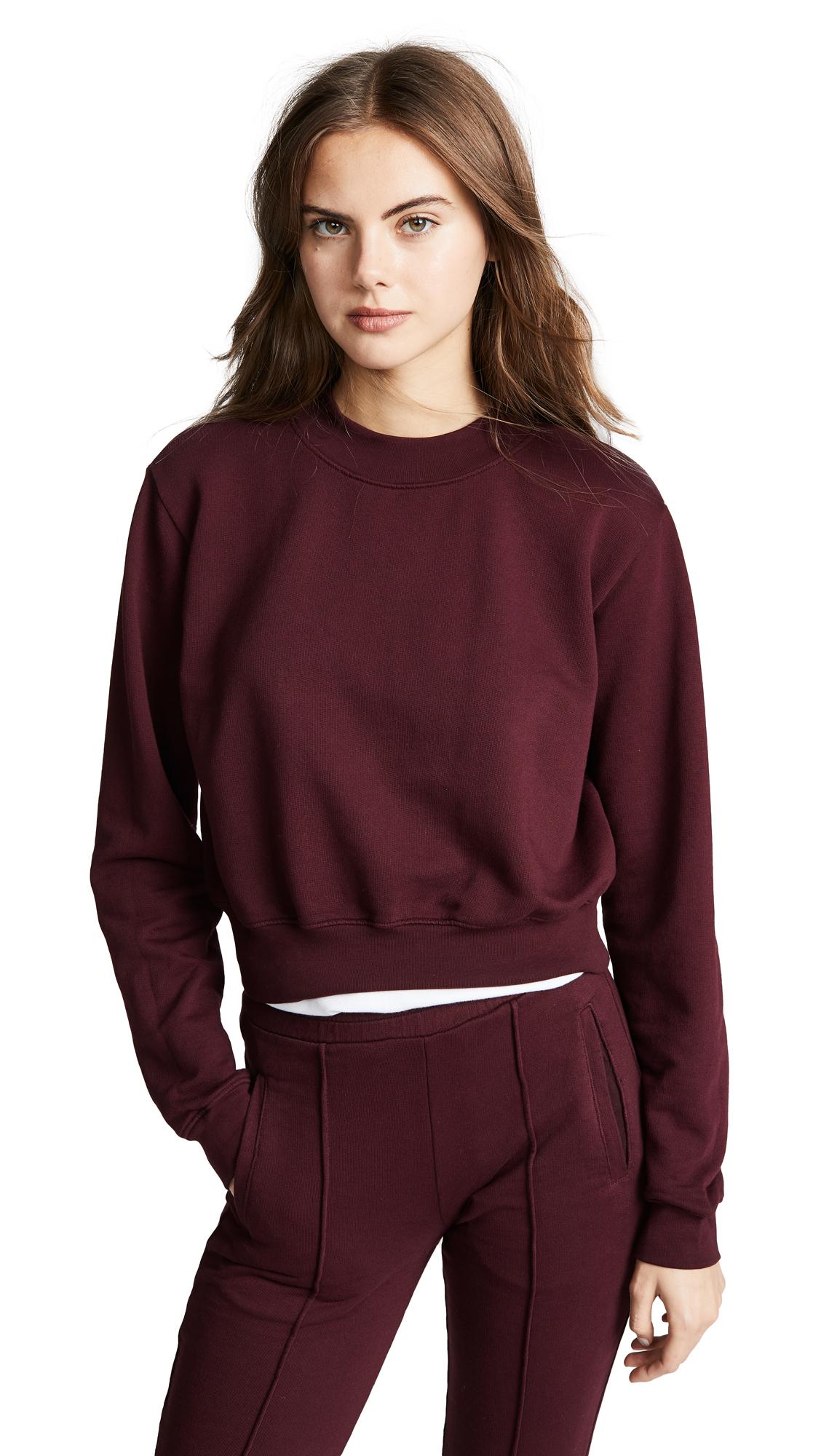 Milan Cropped Cotton-Jersey Sweatshirt in Sangria