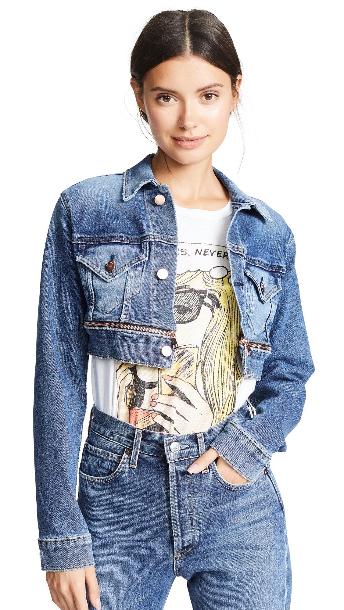 Cotton Citizen Super Crop Jacket In Stone Blue
