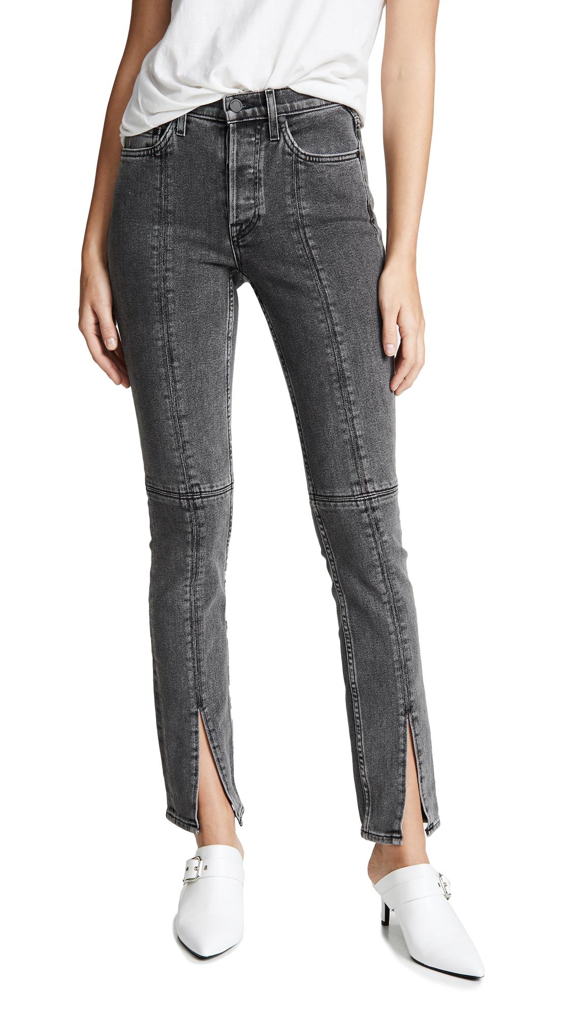 Vickie High-Rise Split-Leg Jeans in Light Grey