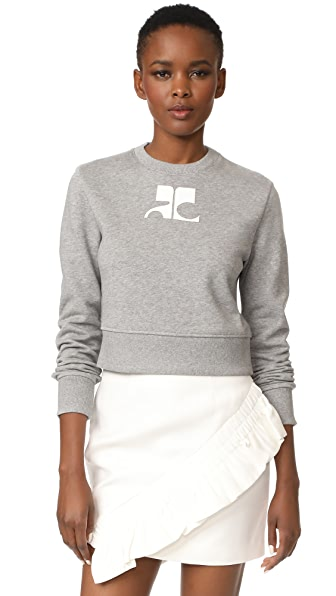 Courreges Fleece Sweater - Gris & Blanc