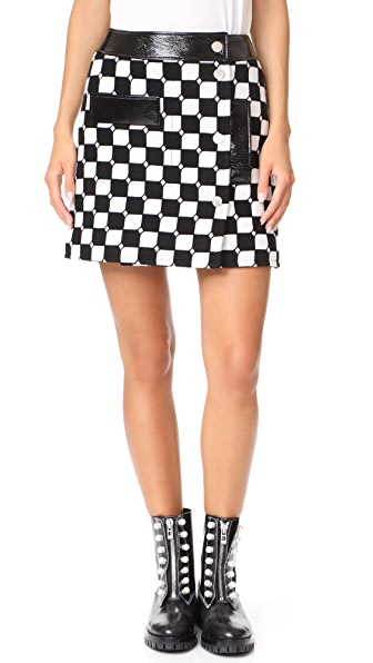 Courreges Check Miniskirt In Noir/Blanc