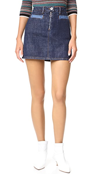 Courreges Denim Miniskirt In Washed Out Blue