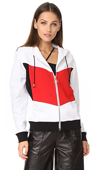 Courreges Hood Sweatshirt - White/Black/Red