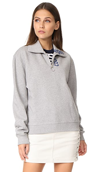 Courreges Zip Neck Sweatshirt - Grey/Blue
