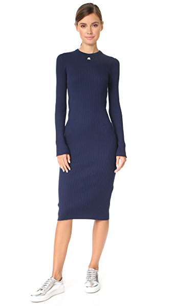 Courreges Open Wrist Midi Dress In Navy