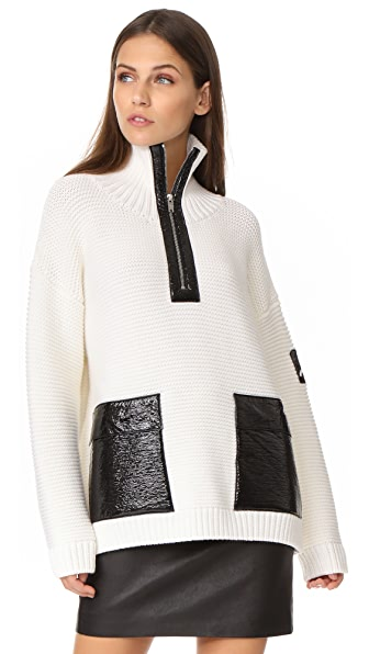 Courreges Zip Neck Sweater In White/Black