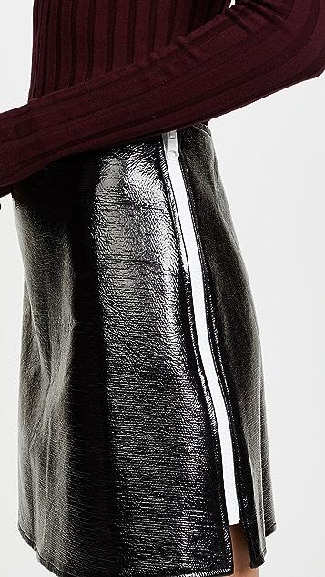 Courreges Jupe Vinyl Zip Miniskirt