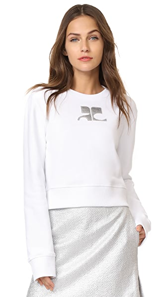 Courreges Cropped Fleece Sweatshirt - Blanc/Argent