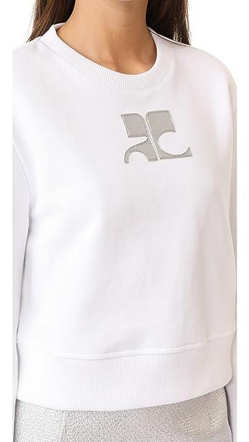 Courreges Cropped Fleece Sweatshirt