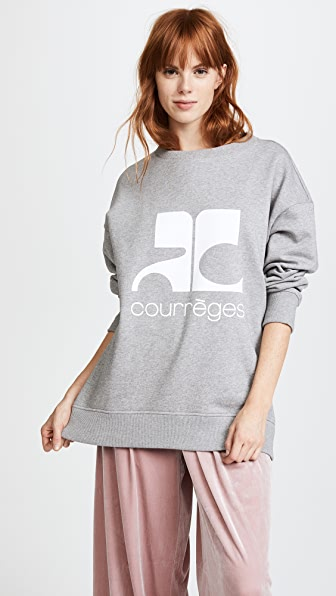 Courreges Fleece Logo Sweatshirt - Gris/Blanc