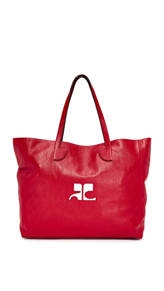 Courreges Leather Tote In Red