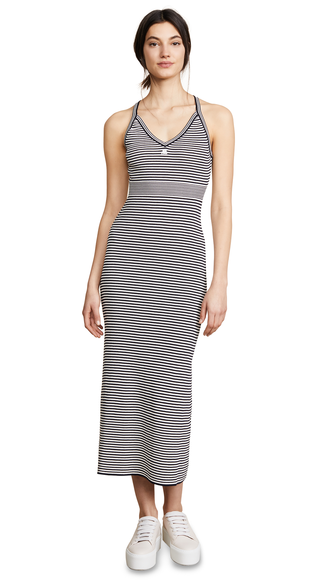 Courreges Long Striped Metallic Dress