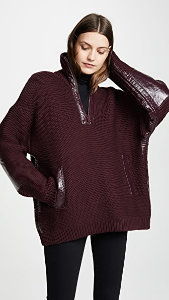 Courreges Zipped Neck Sweater with Vinyl Detail