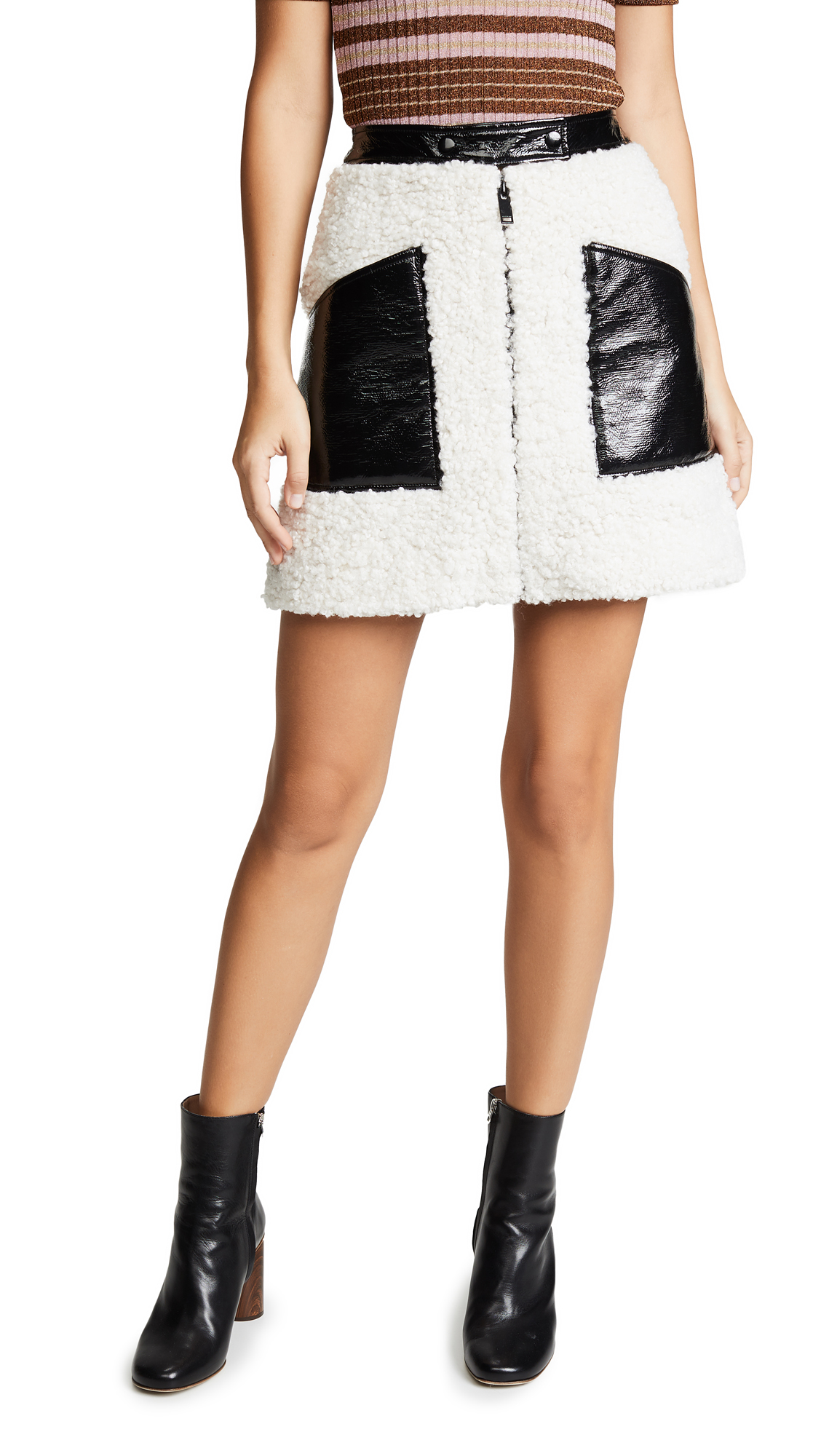 Courreges Sherpa Miniskirt In Black/White
