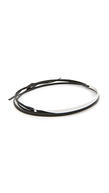 Cloverpost Gloss Leather Wrap Choker Necklace