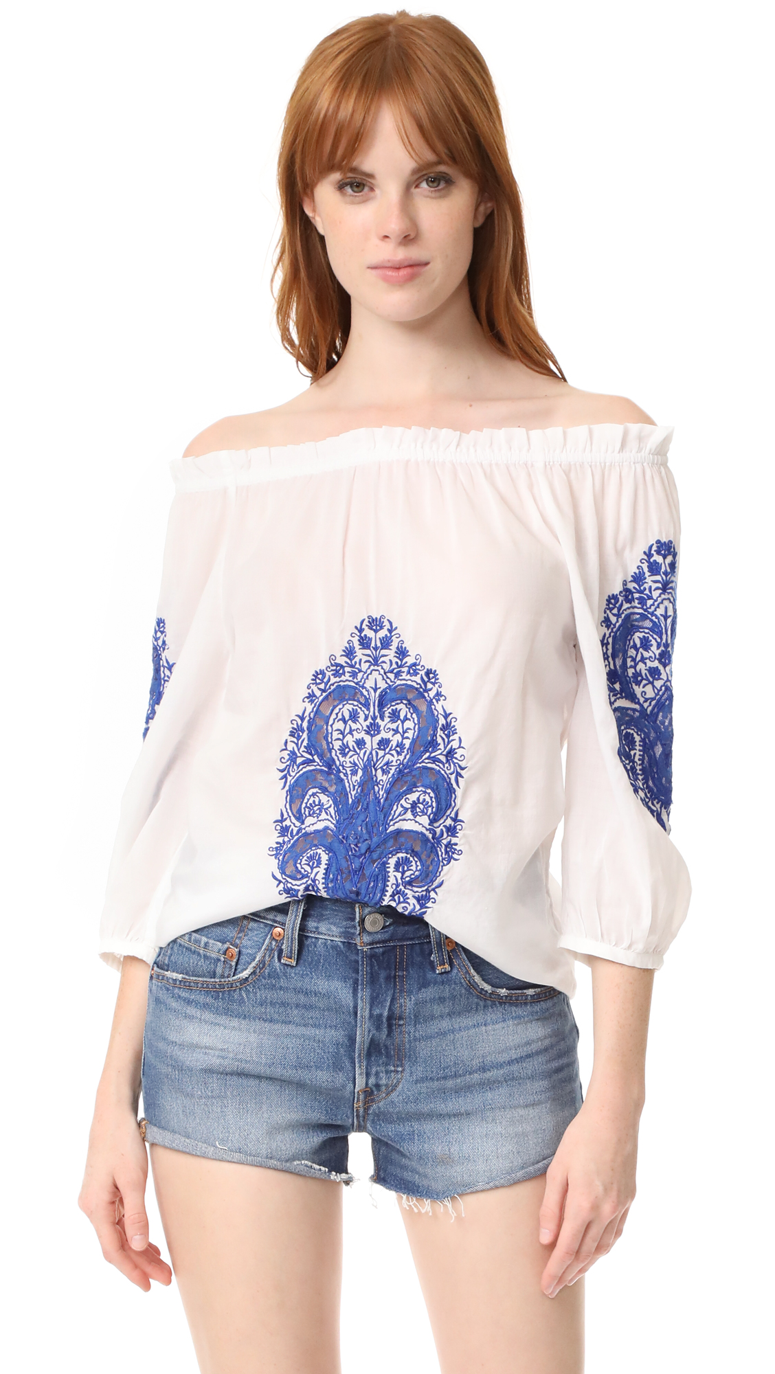 Christophe Sauvat Collection Cai Cai Off Shoulder Top - White/Blue