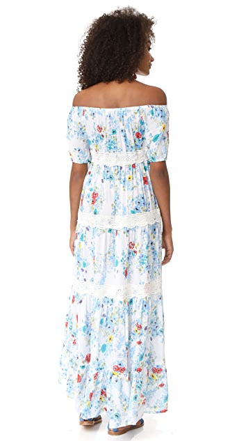 Christophe Sauvat Collection Eden Garden Off Shoulder Maxi Dress