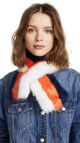 Charlotte Simone Polly Pop Faux Fur Scarf In White/Orange/Blue Stripe