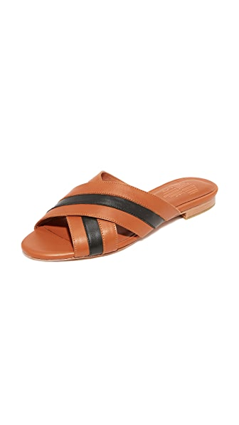 Charlotte Stone Tea Leather Slide Sandals - Caramel