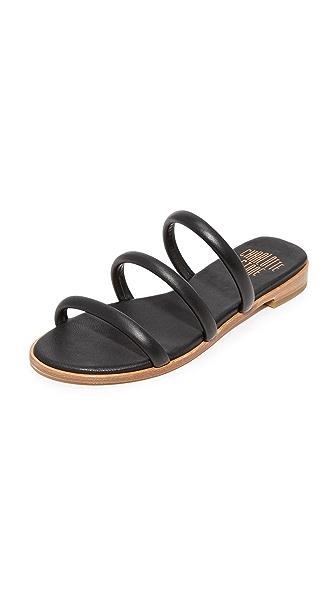 Charlotte Stone Bruna Leather Slides - Black