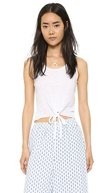 cupcakes and cashmere Rose Tie Front Linen Tank