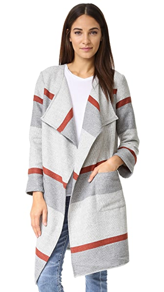 cupcakes and cashmere Jolie Yarn Dyed Stripe Blanket Coat - Burnt Sienna
