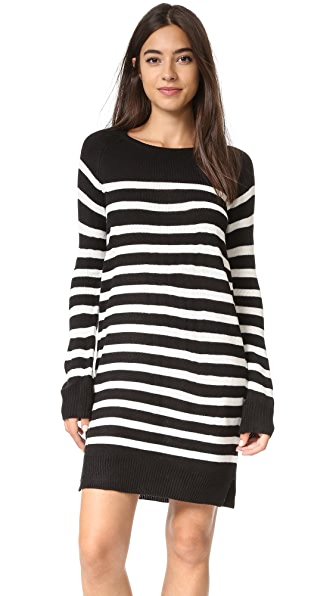 Cupcakes And Cashmere Grand View Striped Sweater Dress - Black