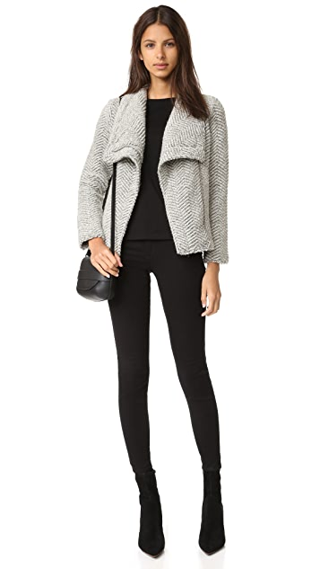cupcakes and cashmere Sanford Textured Asymmetric Zip Jacket