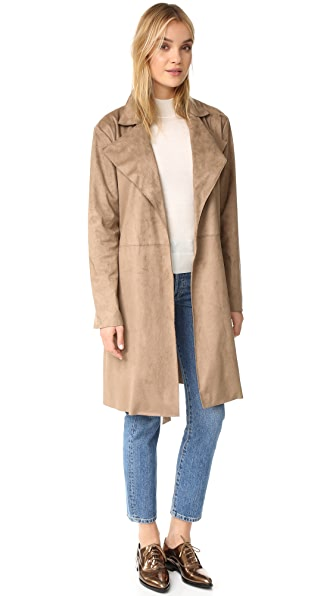cupcakes and cashmere Ariana Faux Suede Trench Coat