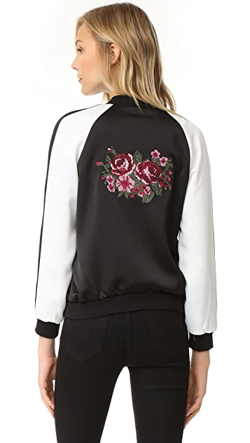 cupcakes and cashmere Daffodil Satin Embroidered Bomber