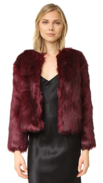 cupcakes and cashmere Snyder Luxe Faux Fur Jacket - Merlot
