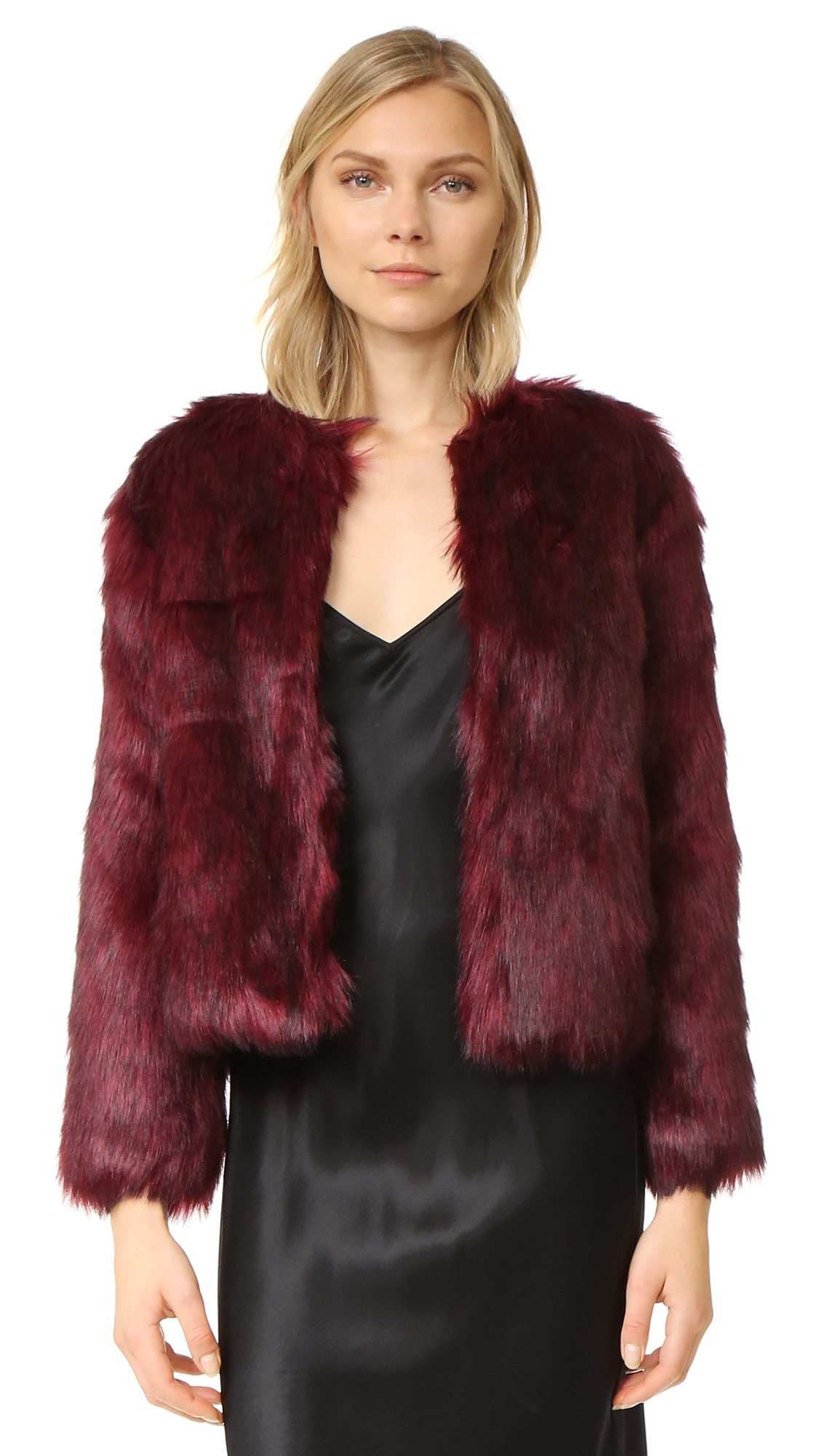 A glamorous cupcakes and cashmere jacket in colorful faux fur. Hidden hook and eye placket and on seam pockets. Lined. Fabric: Faux fur. Shell: 85% acrylic/15% polyester. Lining: 100% polyester. Hand wash or dry clean. Imported, China. Measurements