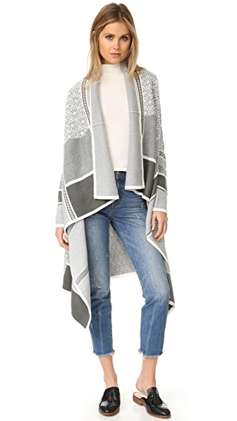 cupcakes and cashmere Santana Long Draped Sweater - Frost