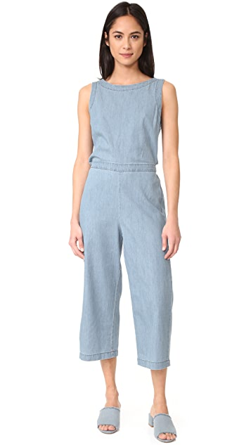 cupcakes and cashmere Hoffman Cropped Button Back Jumpsuit