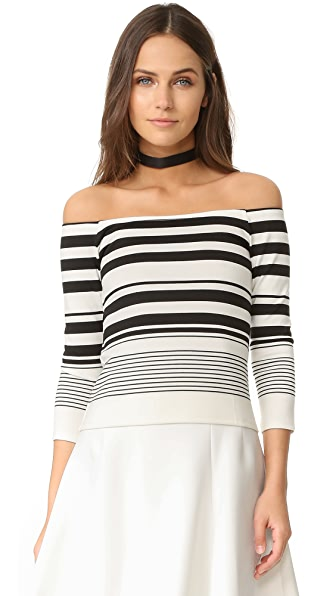 cupcakes and cashmere Leilani Stripe Off The Shoulder Tee