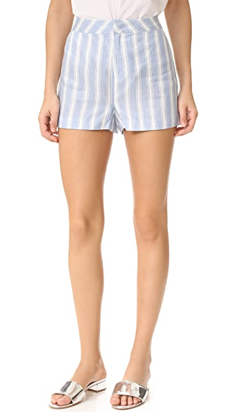 cupcakes and cashmere Brinley Stripe Linen Shorts In Bleached Blue