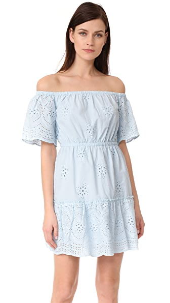 cupcakes and cashmere Sorena Eyelet Off Shoulder Dress In Bleached Blue