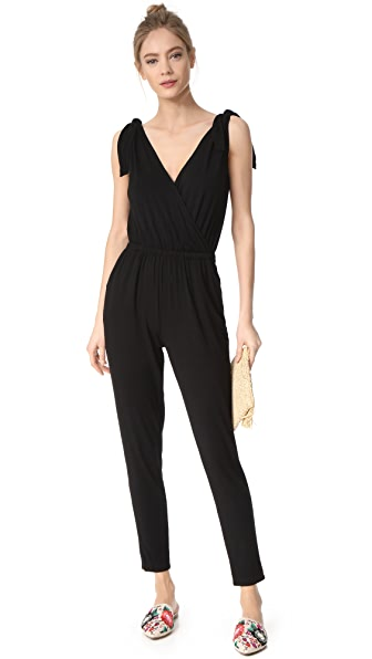 cupcakes and cashmere Dallias Cross Front Jumpsuit - Black