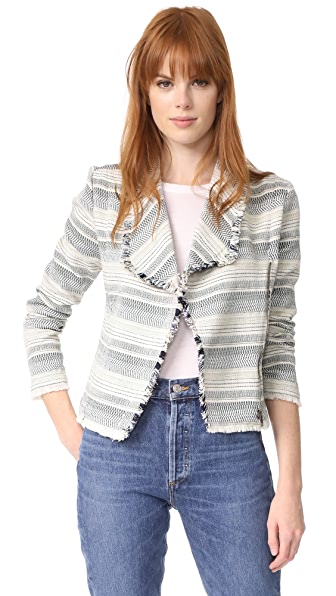 cupcakes and cashmere Amiri Jacquard Raw Edge Jacket - Ink