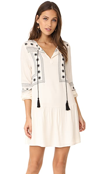 cupcakes and cashmere Vander Embroidered Drop Waist Dress - Ivory