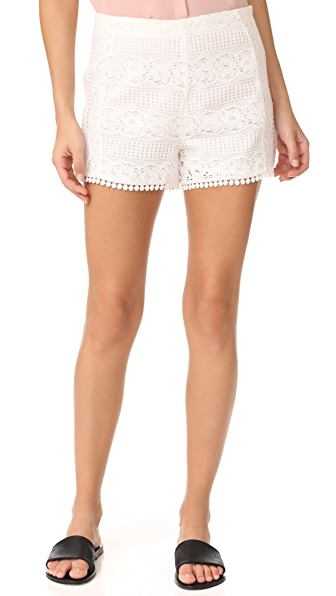 cupcakes and cashmere Christine Lace Shorts In Ivory