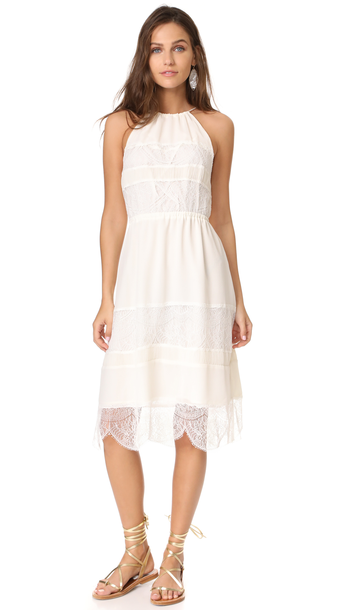 cupcakes and cashmere Tamika Pleated Trim Midi Dress - Ivory