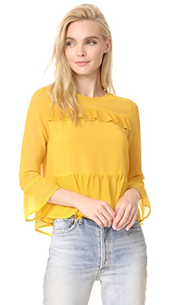 cupcakes and cashmere Katlyn Peplum Blouse - Saffron Yellow